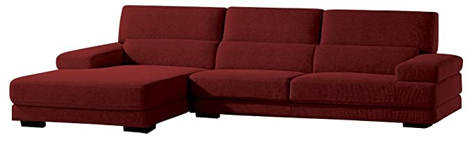 Afydecor Contemporary L shaped Sofa with Elegant Low Back Cushioning - Red