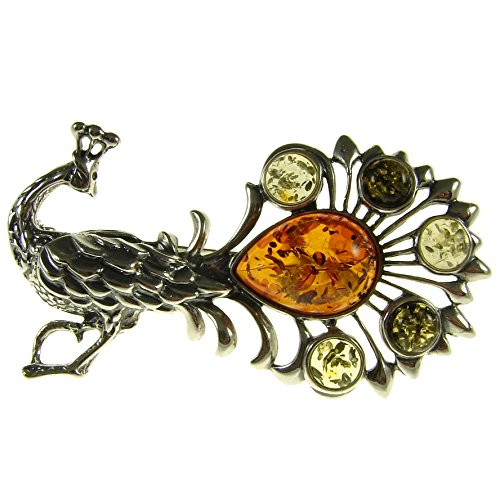 - BALTIC AMBER AND STERLING SILVER 925 DESIGNER MULTI-COLOURED PEACOCK BROOCH PIN JEWELLERY JEWELRY