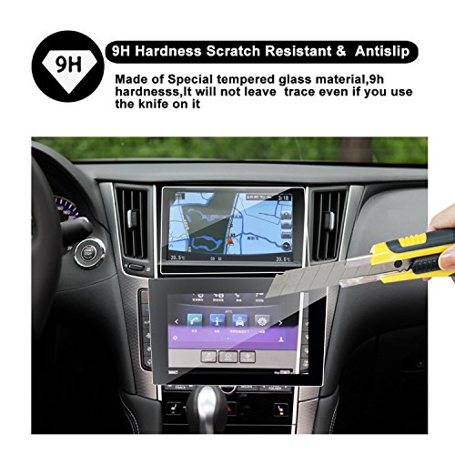 RUIYA 2016 2017 2018 Infiniti Q50 Q60 Car Navigation and Bottom Touch Screen Protective Film Combined Package (Pack of 2),8-Inch Clear Tempered Glass HD and Protect Your Eyes