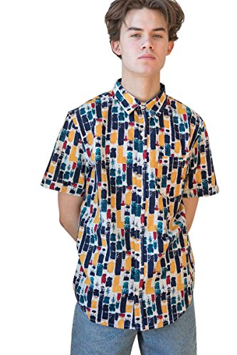 Ragstock Men's Casual Button-Up Icon-Printed Woven Shirts (Small, Abstract-90s-1942) Abstract Button