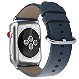 Youkex for Apple Watch Band 38mm, Genuine Leather Strap Replacement Wristband with Silver Stainless Steel Clasp for Apple Watch Series 3, Series 2, Series 1 Sport and Edition Women Men (Blue, 38mm)