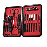 Aolvo Manicure Pedicure Set Nail Clippers 16 in 1 Professional Stainless Steel Nail Scissors Grooming Kit With Protable Black PU Travel Case for Boys and Girls - Red