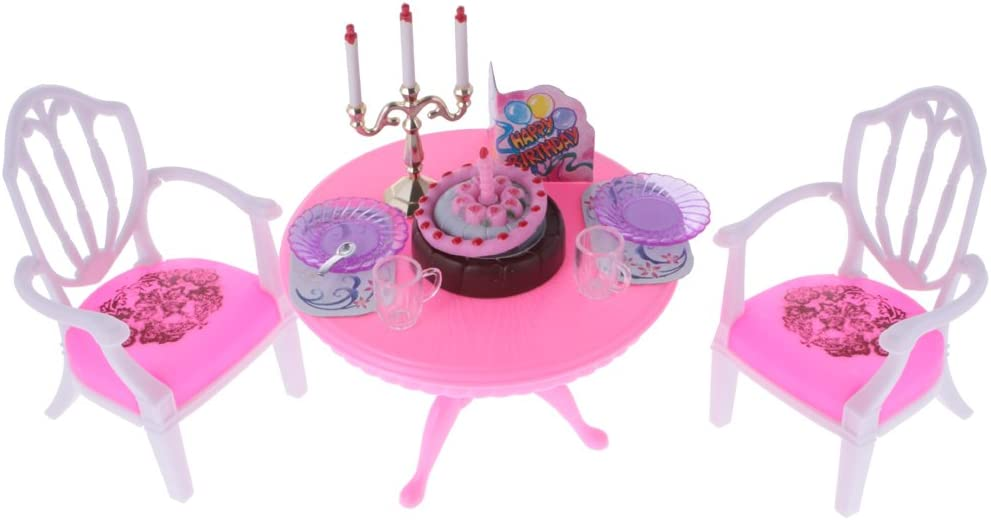 1/6 Scale Dollhouse Furniture Dining Table Chairs and Accessories Set, 12inch Doll BJD House Decoration, Fairy Garden DIY Supplies