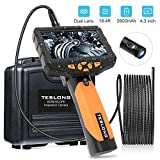 Teslong Inspection Camera, Dual Lens 4.3inch Screen Endoscope with Toughened Glass, 16.4ft Waterproof Semi-Rigid Tube Borescope Industrial Endoscope, 2600mAh Rechargeable Battery (16GB TF Card)