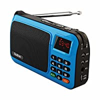 Rolton W405 Mini altavoz portátil de radio FM Reproductor de música Tarjeta TF para PC iPod Teléfono con pantalla LED (Azul)