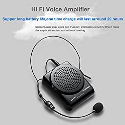 GooDee Rechargeable Voice Amplifier Portable Waistband Pa System Microphone with Waist/Neck Band & Belt Clip Up to 15~20 Hours Playtime
