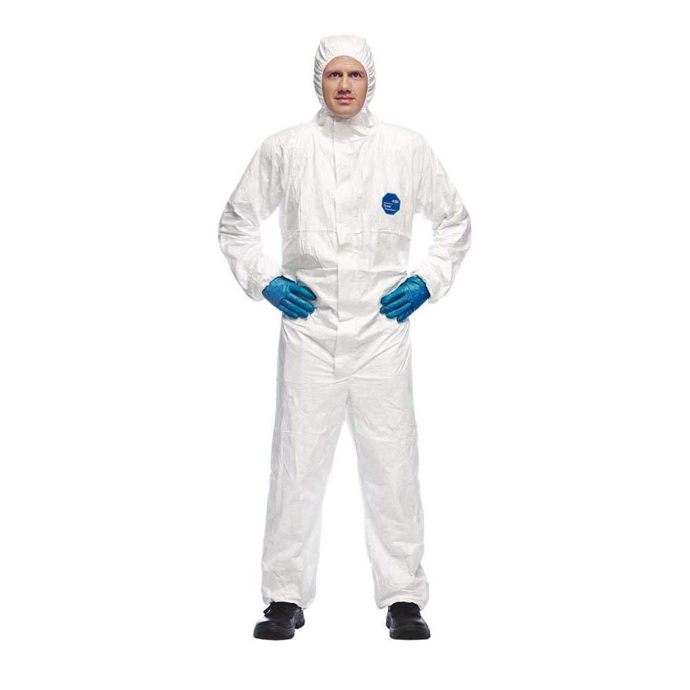 DuPont Tyvek 500 Xpert | Ropa de protección química con capucha,Categoría III, Tipo 5-B y 6-B | Resistente pero Ligero | Blanco|Talla L
