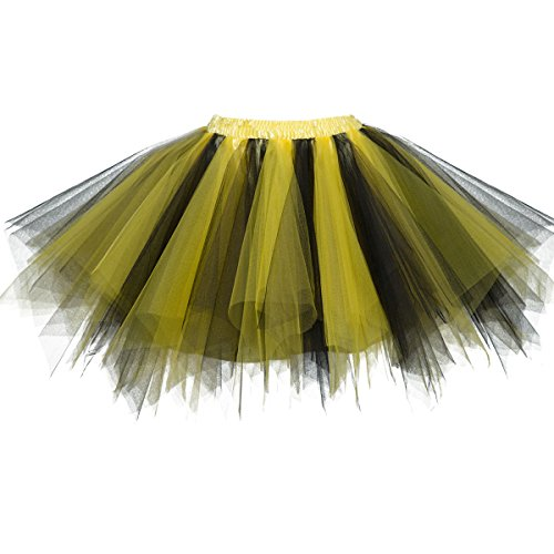 Topdress Women's 1950s Vintage Tutu Petticoat Ballet Bubble Skirt (26 Colors) Black Yellow L/XL