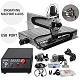 MOPHOTO Mini CNC Engraving Machine, 4-AXIS 6040 Engraver Water-Cooling VFD Spindle for Craft Jewelery Metal Mold Wood Carving Drilling Milling with USB Port