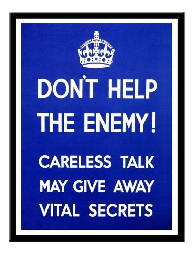 Iposters Don't Help The Enemy 1940s War Print Magnetic Memo Board Black Framed - 41 X 31 Cms (approx 16 X 12 Inches)
