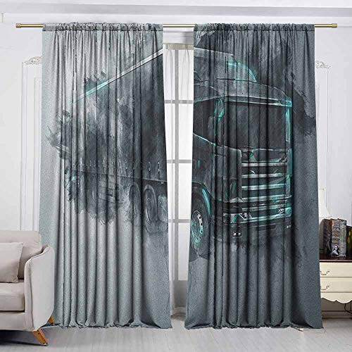 VIVIDX Doorway Curtain,Truck,Greyscale Illustration of a Tractor Trailer with Paint Smears Cargo Delivery,Room Darkening, Noise Reducing,W63x45L Inches Grey Turquoise