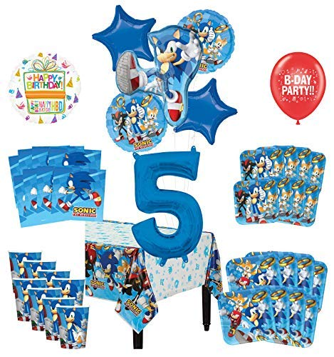 Mayflower Products Sonic The Hedgehog 5th Birthday Party Supplies 8 Guest Decoration Kit and Balloon Bouquet -