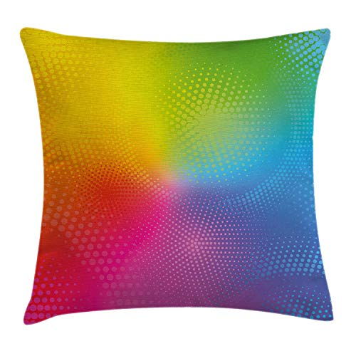 Ambesonne Rainbow Throw Pillow Cushion Cover, Vibrant Neon Colors Circles Rounds Dots Radiant Composition Iridescent Effect Print, Decorative Square Accent Pillow Case, 20