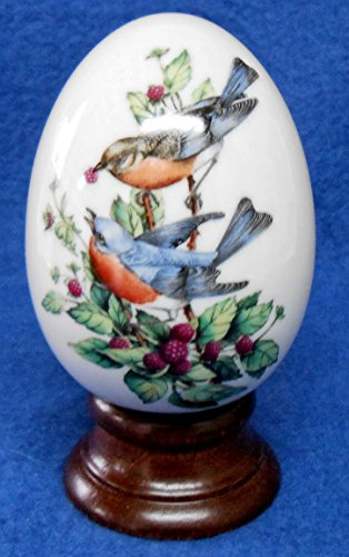 Avon Porcelain Egg - AVON 1984 Four Seasons Porcelain Egg Series - Summer's Song - Includes Box, Stand and Original Foam Packaging