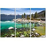 Canvas Print Wall Art Painting For Home Decor Sandy Lake Tahoe Beach With Crystal Clear Turquoise Water And Some Kayakers Rocky Shore In Nevada California United States.Cloud Snow With Sierra Nevada Mountains Rocks Trees In Northwest Twilight 3 Piece Panel Paintings Modern Giclee Stretched And Framed Artwork The Picture For Living Room Decoration Landscape Pictures Photo Prints On Canvas