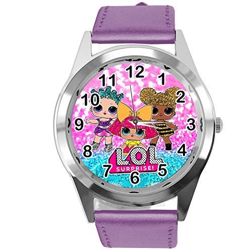 Reloj de cuarzo con correa de piel auténtica, color violeta redondo para fanáticos de las muñecas