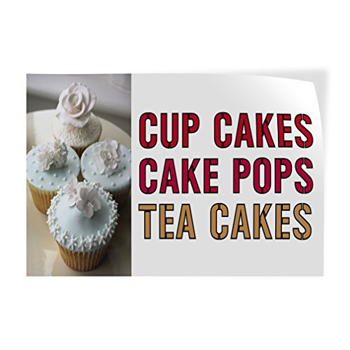 Cup Cakes Cake Pops Tea Cakes Indoor Store Sign Vinyl Decal Sticker - 4.5inx12in, Cake Pops Bakery Stickers