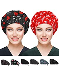 2 Pack Bouffant Caps with Button and Sweatband, Adjustable Working Hats for Women Men, One Size Working Head Cover