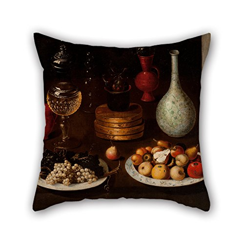 Reverse Patterns Glass Painting (TonyLegner Oil Painting Anonymous Madrid Painter - Fruit Bowl Plates Grapes Pears, Glass Clay Vessels Pillowcase Best Wife Bar Father Dinning Room Teens Home Office 16 X 16 inches / 40 by)
