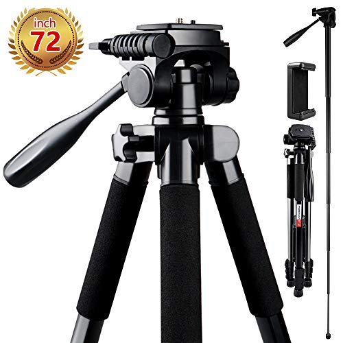 Camera Tripod, FOSITAN 72-inch Compact Travel Tripod with Quick Release Plate and Phone Holder for Camera DSLR Canon Nikon Sony Smartphone Video Tripod with 360° Panorama for Video Shoting Still-Lifes