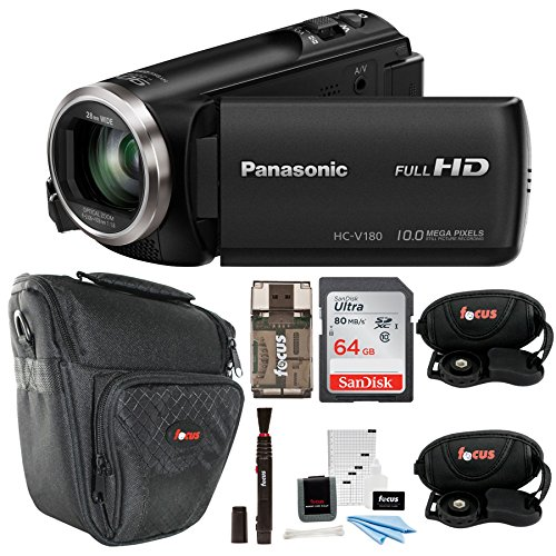 (Panasonic HC-V180K Full HD 1080p Camcorder + Sony 64GB Memory Card + Medium Case + Focus HDMI to Micro HDMI cable (6 FT) + Table Tripod + Wrist Grip Strap + 5 Piece Digital Camera Accessory Kit)