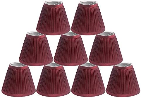 Urbanest Set of 9 Chandelier Lamp Shade, 3-inch top by 6-inch by 5-inch, Random Mushroom Pleat, Burgundy, Hardback, Clip-on