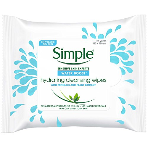 Simple Water Boost Hydrating, Cleansing Face Wipes, 25 count