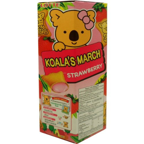 Lotte Koala's March Biscuits with Strawberry Cream Filling Snack Net Wt 41 G ( 1.44 Oz ) X 2 Boxes