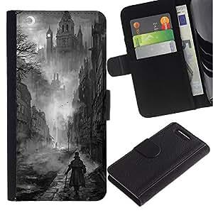 For Sony Xperia Z3 Compact Case , Black White Painting Castle Vampire - la tarjeta de Crédito Slots PU Funda de cuero Monedero caso cubierta de piel