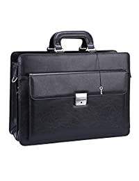 Ronts PU Leather Briefcase for Men Lawyer Attache Case with Lock 15.6 Inch Laptop Business Bag Tote Shoulder Messenger Bag Black