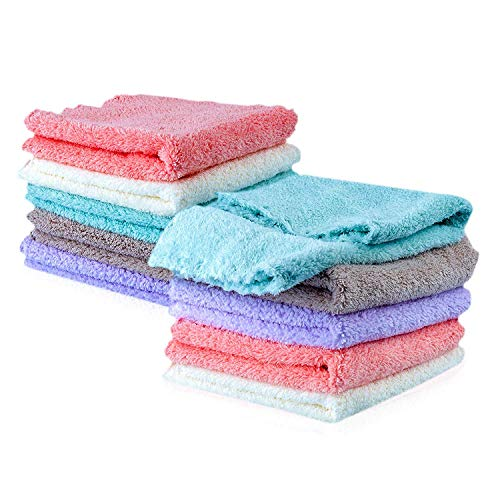 Kyapoo Baby Washcloths 10 Pack 12x12 Inches Microfiber Coral Fleece Extra Absorbent and Soft for Newborns, Infants and Toddlers
