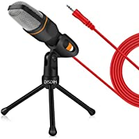 PC Microphone, DISDIM 3.5mm Jack Condenser Recording Microphone with Mic Stand for PC, Laptop, iPhone, iPad, Mac, Smartphone - Gaming, Singing, YouTube, Skype (Black)