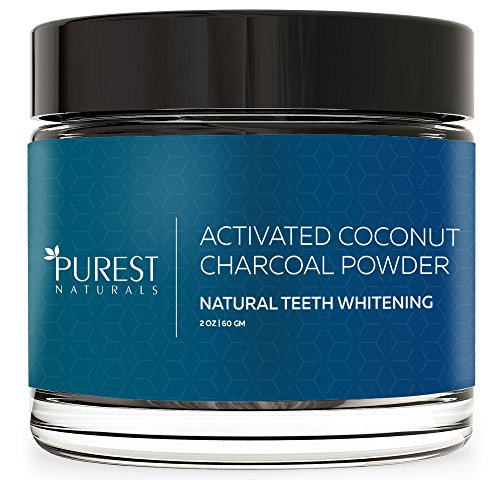 Purest Naturals Teeth Whitening Charcoal Powder Natural - Made In USA With Coconut Activated Charcoal - Safe Effective Tooth Whitener Solution - Better Than Strips, Kit, Gel & Whitening Toothpaste - Teeth Veneer Bling