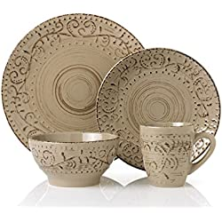 Lorren Home Trends LH431P 16 Piece Round Stoneware Distressed Dinnerware Set, Green/Mocca
