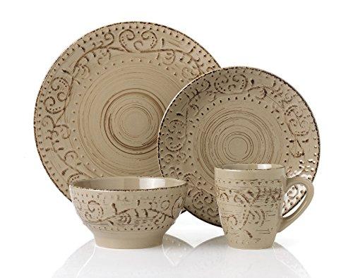 Lorren Home Trends LH431P 16 Piece Round Stoneware Distressed Dinnerware Set, Green/Mocca