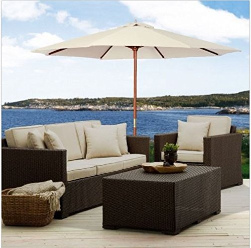 Patio Furniture-Patio Umbrella-Premium® Patio Furniture 10Ft Wooden Patio Umbrella Sun Shade Wood Pole Outdoor Beach Cafe Garden Beige - Office Patio Umbrella