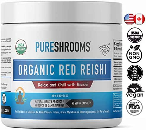Pure Shrooms Red Reishi - 1600 mg Per Serving - Strengthens Immune System, Relieves Anxiety & Stress. Promotes Calm Moods. Beta-D-Glucans: 30% No Added Starch (90 Capsules)