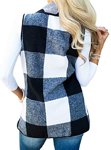 1 Coat Plaid Lapel Cardigan Sleeveless Warm Vest security Open Women's Front FUOqAv