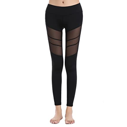 928d414a59bad SOUTEAM Womens Stretchy Mesh Panel Leggings High Rise Running Tights,  Black, S