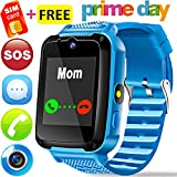 Kids Phone Smart Watch - [Speedtalk SIM Card] Kids Smartwatch for Boys Girls with Mobile Phone SOS Anti-lost Camera Game Sport Outdoor Children Digtal Wrist Watch for Summer Holiday Prime Gift, Blue