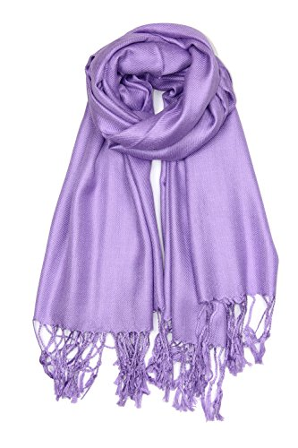Achillea Large Soft Silky Pashmina Shawl Wrap Scarf in Solid Colors (Light Purple) -