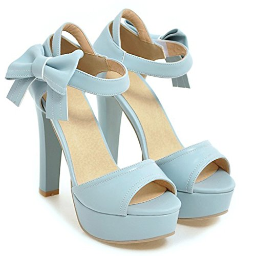 Aisun Womens Cute Hook And Loop Peep Toe Chunky high Heels Dress Ankle Strap Sandals Shoes With Bows Blue cQpcj