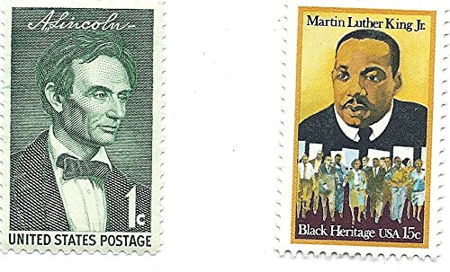 Martin Luther King Stamp (USA Postage Stamp Pair 1958 Abe Lincoln 1 Cent And 1979 Martin Luther King Jr. 15 Cent MNH Scott #'s 1113 And 1771)