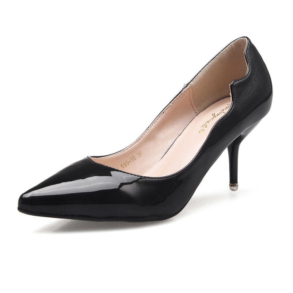 Tip high-heeled single shoe women shoes fine with 6cm bare color night women's shoes, Black (6.5) 37