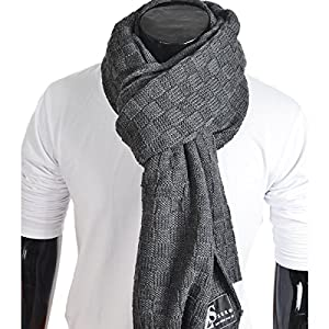 Z&s Stylish Unisex Daily Square Pattern Soft Knitted Winter Scarf E5031 (Dark Gray)