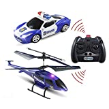 Haktoys HAK329 Mini 3.5 Ch Enforcement Team Police RC Helicopter & RC Car Set, Easy & Ready to Fly & Drive, w/ Gyroscope