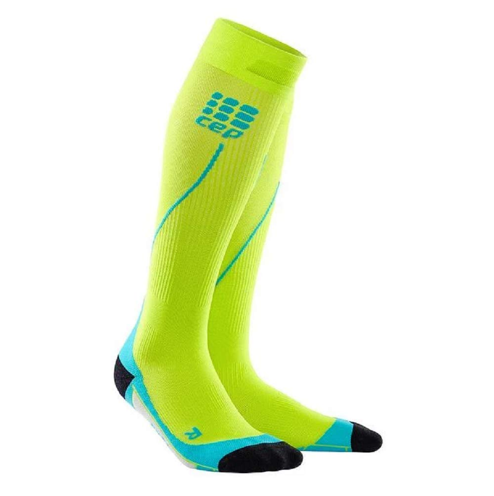 CEP Men's Progressive+ Compression Run Socks 2.0 for Running, Cross Training, Fitness, Calf Injuries, Shin Splits, Recovery, and Athletics, 20-30mmHg Compression, Lime/Hawaii Blue, Size 5 by CEP