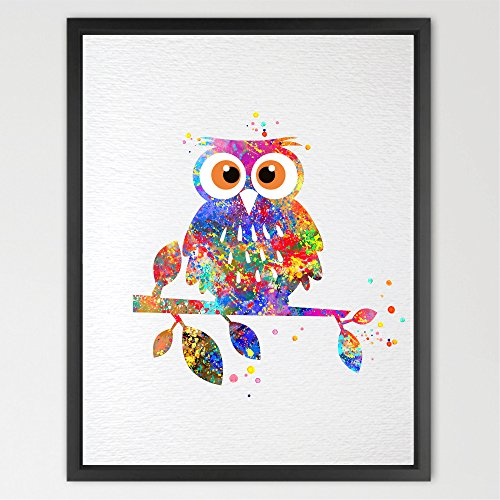 Dignovel Studios 11X14 Owl Watercolor illustrations Art Print Wedding Gift Wall Art Poster Giclee Wall Decor Art Home Decor Wall Hanging animal art print N105