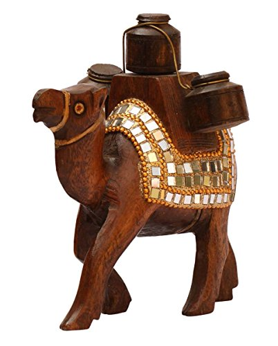 (SouvNear 5.5 Inch Camel Statue with Carrying 3 Pots Wooden Animal Figurines and Sculptures Adorned with Mirrors and Golden Color Beads)