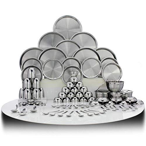 Shri & Sam Stainless Steel Dinner Set, 101 Pieces - Steel